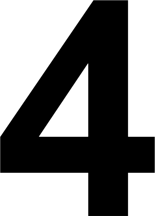 number 4 black and white png image purepng free