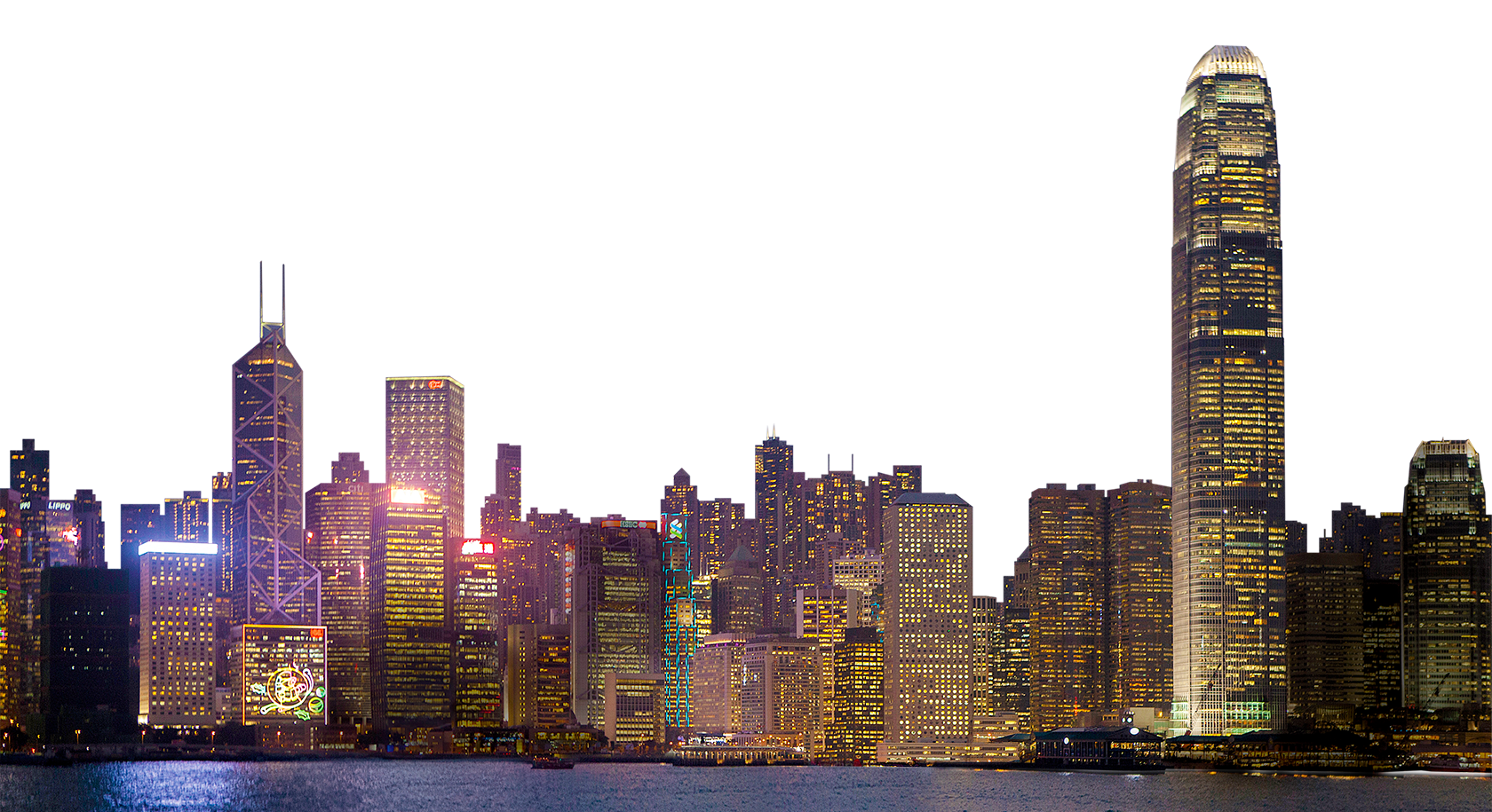 City At Night Skyline PNG Image