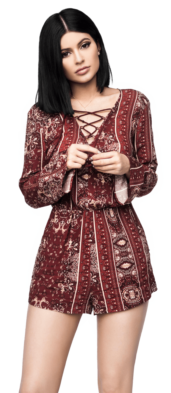 Kylie Jenner Red Skirt PNG Image
