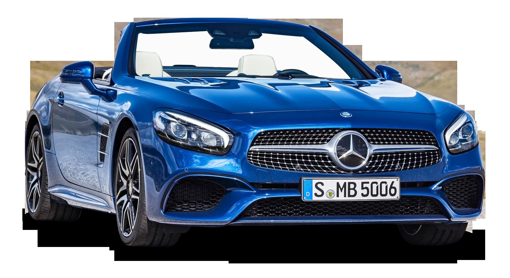 Blue Mercedes Benz SL Class Car PNG Image