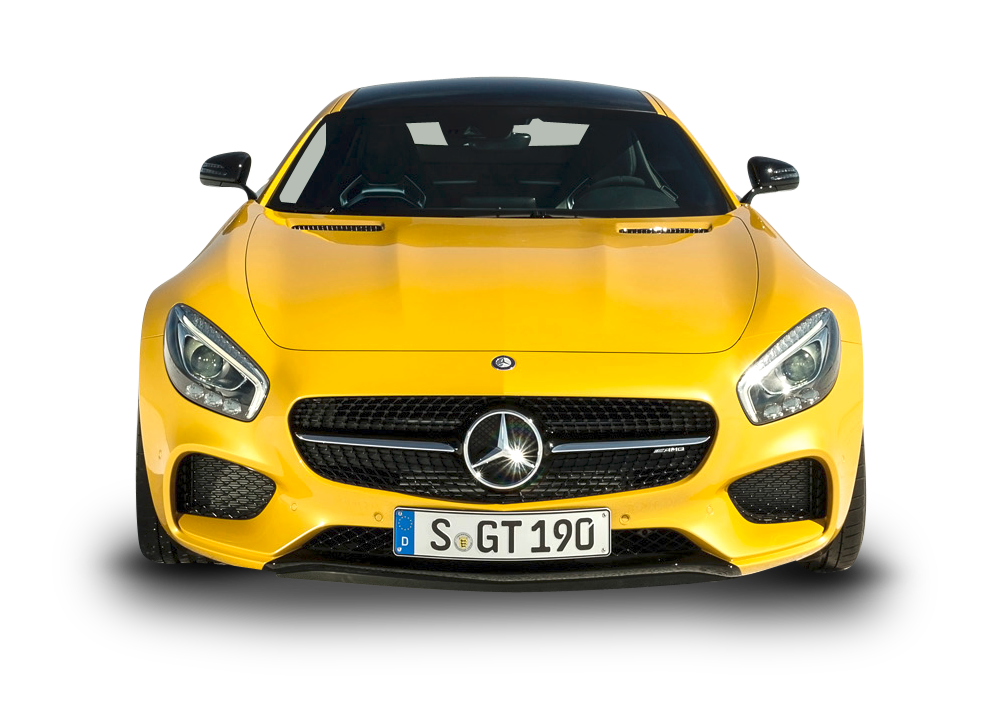 Yellow Mercedes AMG GT Solarbeam Car Front PNG Image