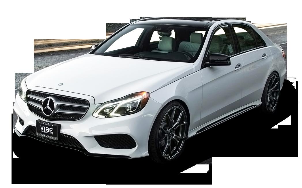 White Mercedes Benz E Class Car PNG Image