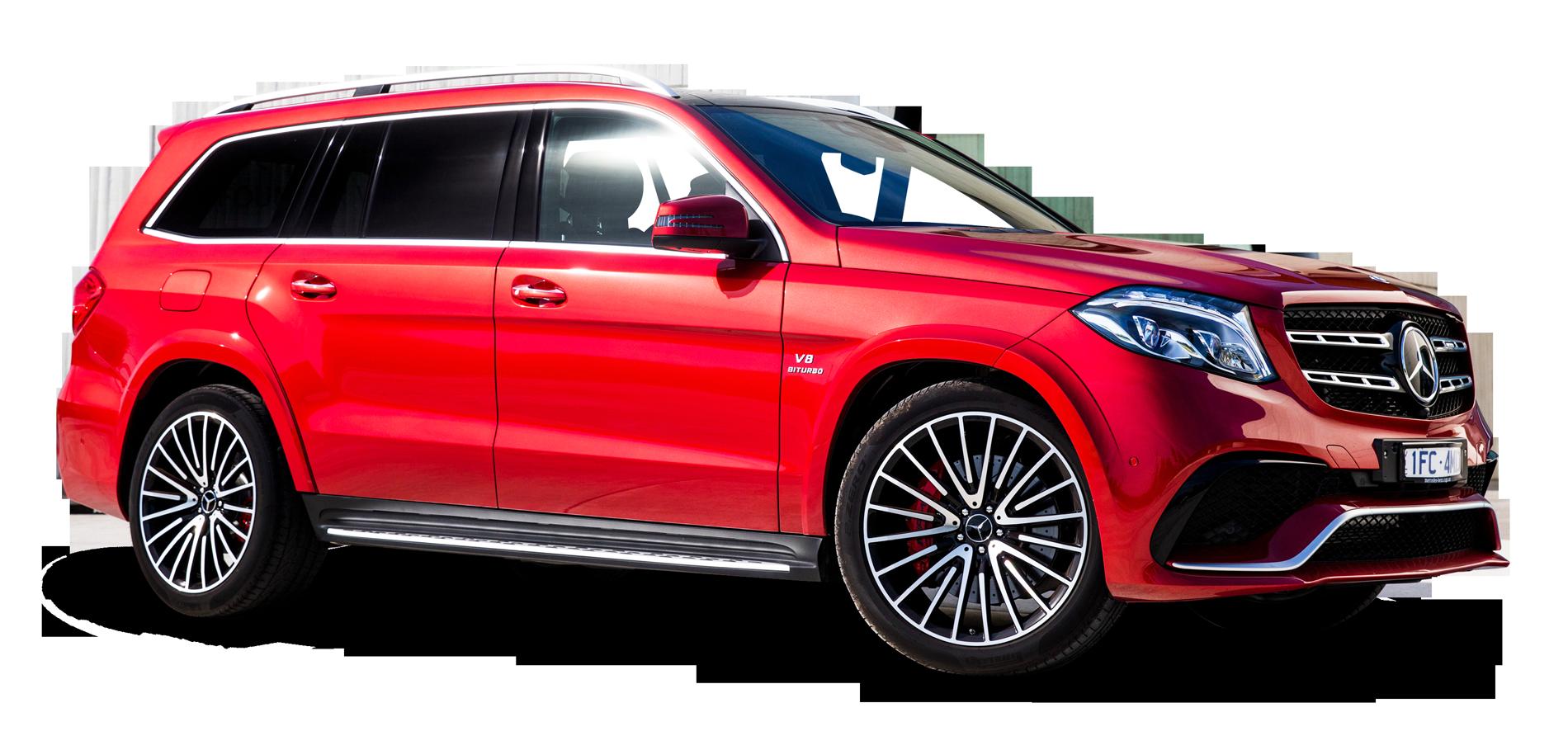Red Mercedes Benz GLS Class Car PNG Image