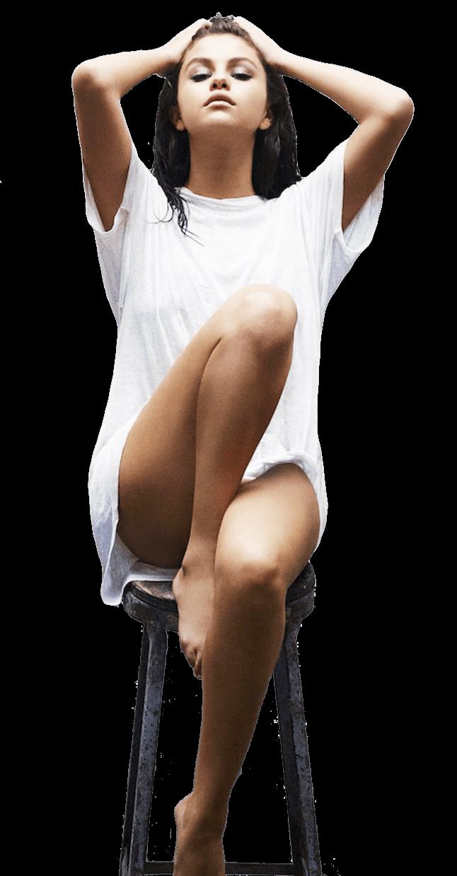 Selena Gomez Sitting Legs PNG Image