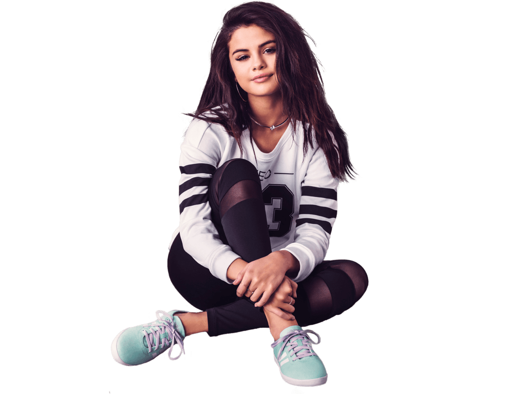 Selena Gomez Sitting Sneakers PNG Image
