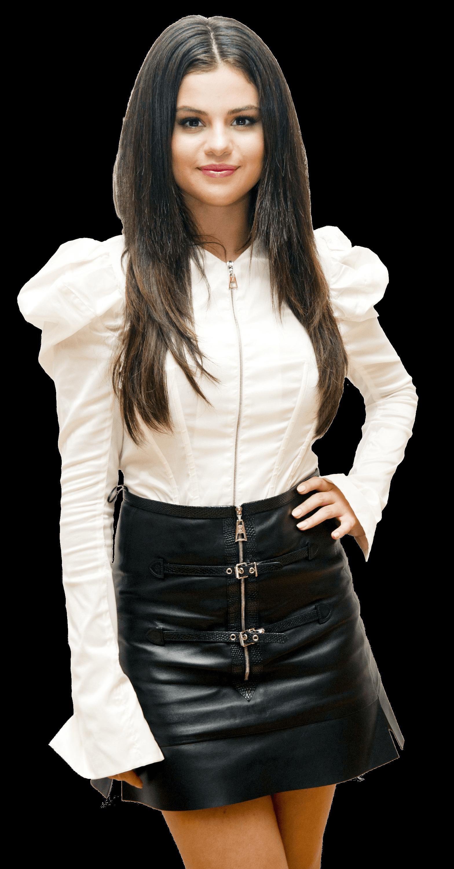 Selena Gomez White Black PNG Image