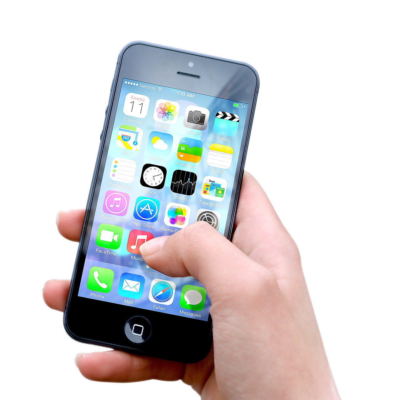 Hand Holding Black iPhone Apple PNG Image