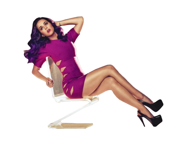 Katy Perry sitting on a chair