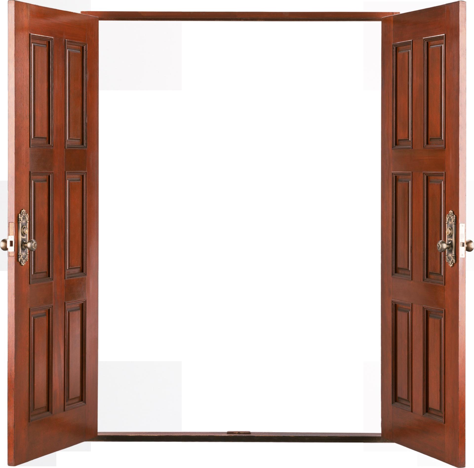 Open wooden door