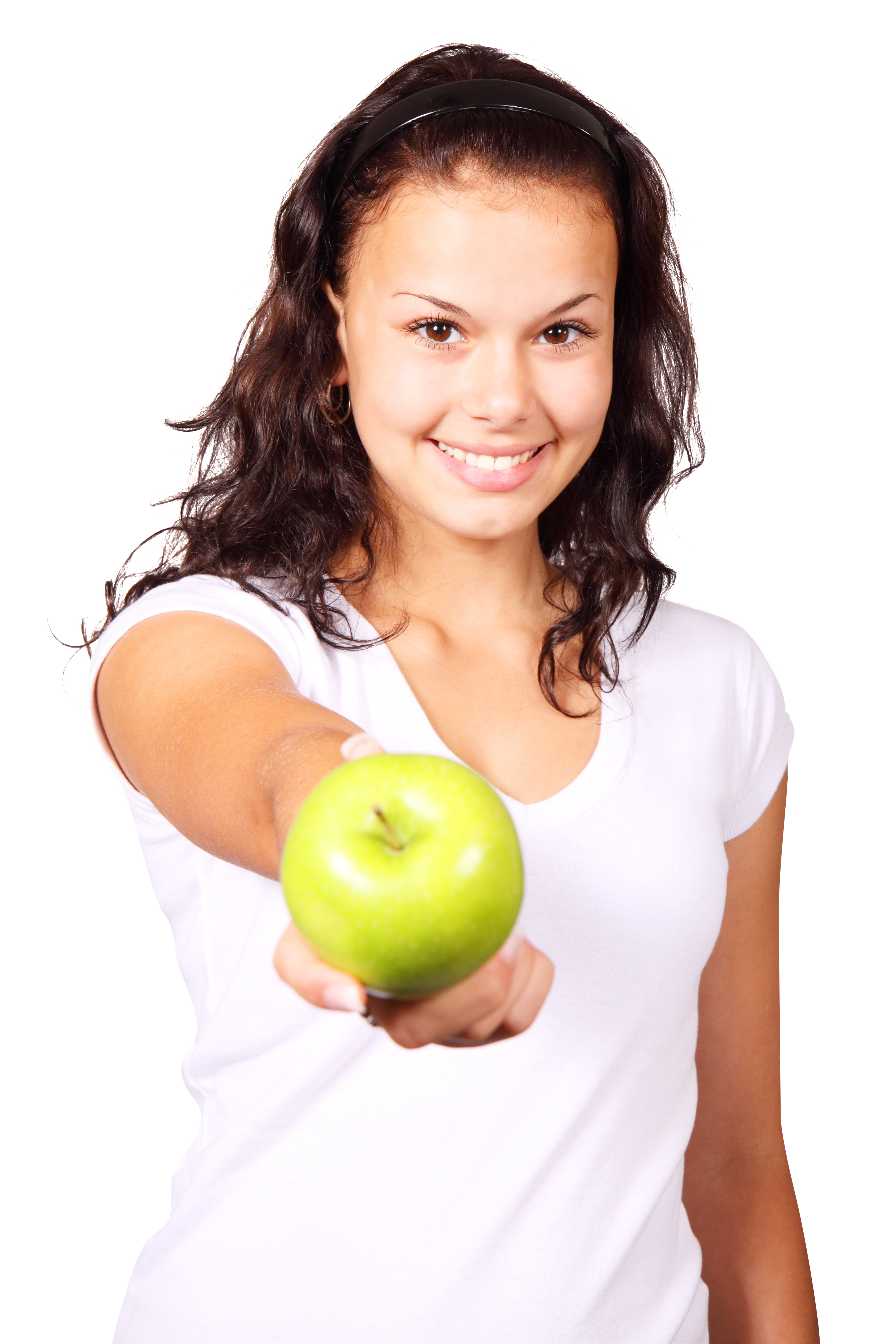 A girl hold apple in her hand
