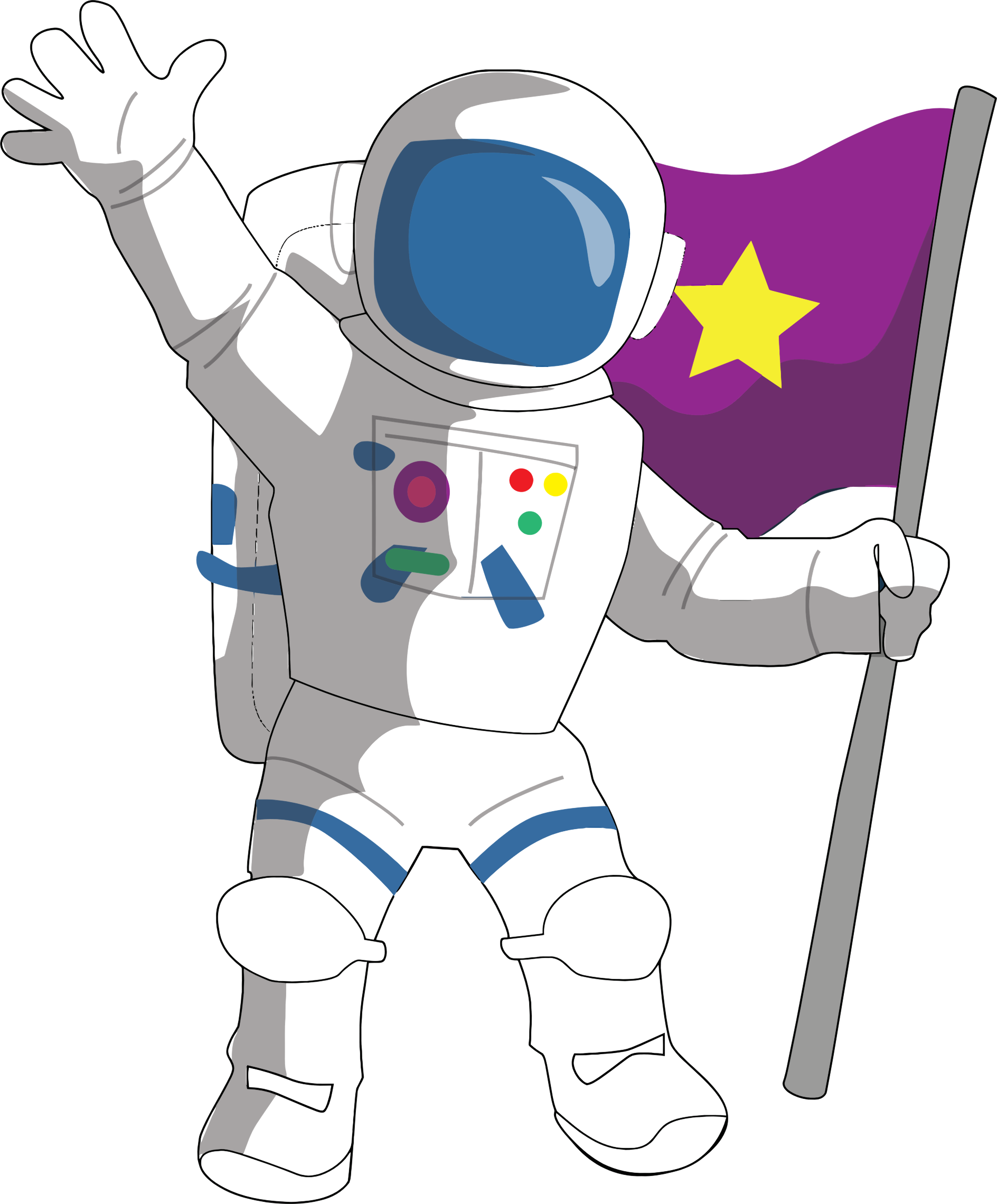 Astronaut hold Flag in Hand