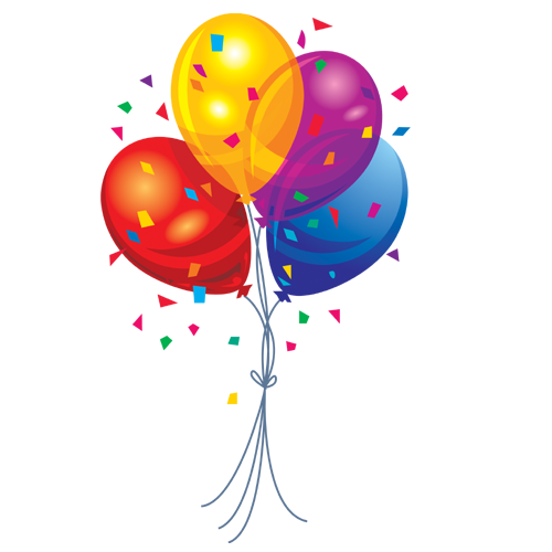 Balloons with Confetti PNG Image