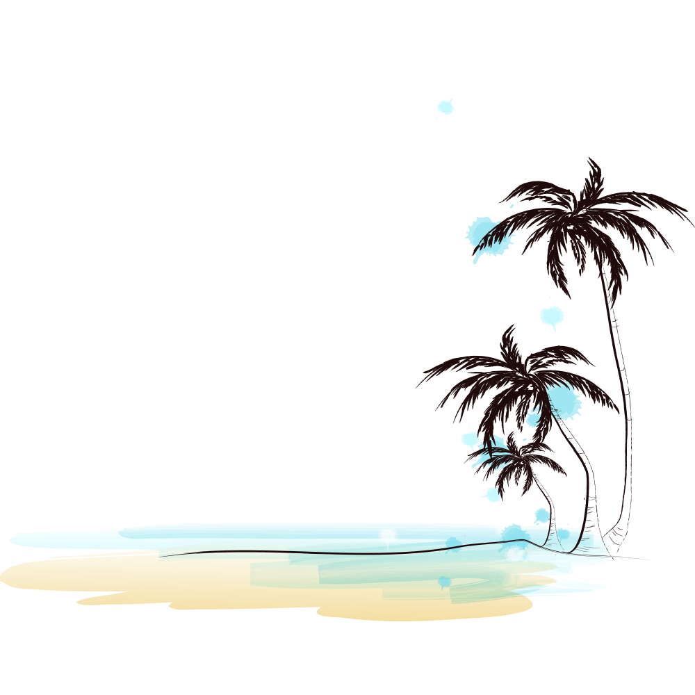 Drawing of Beach with Coconut Trees PNG Image