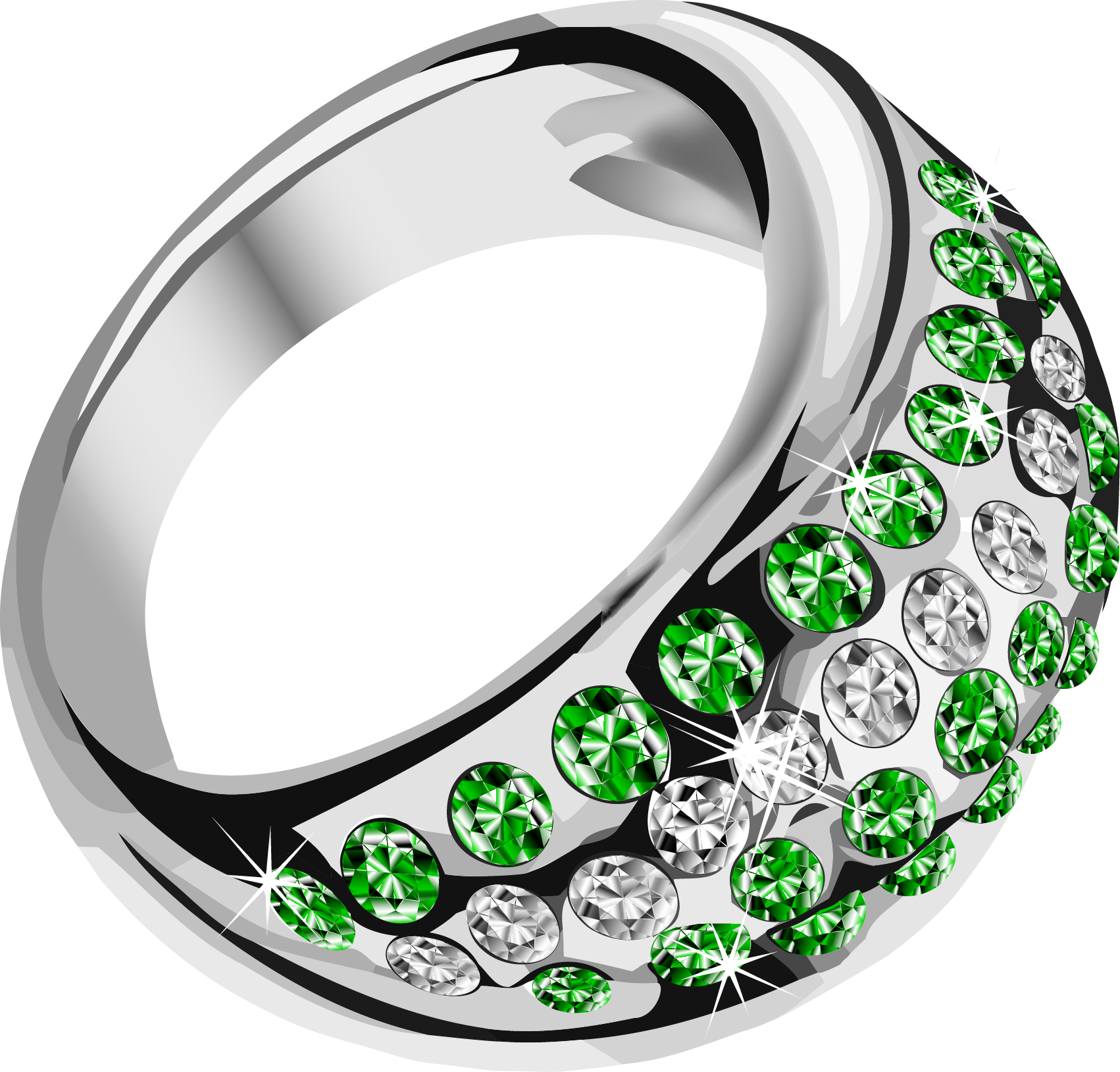 Beautiful Rings with Green Diamonds