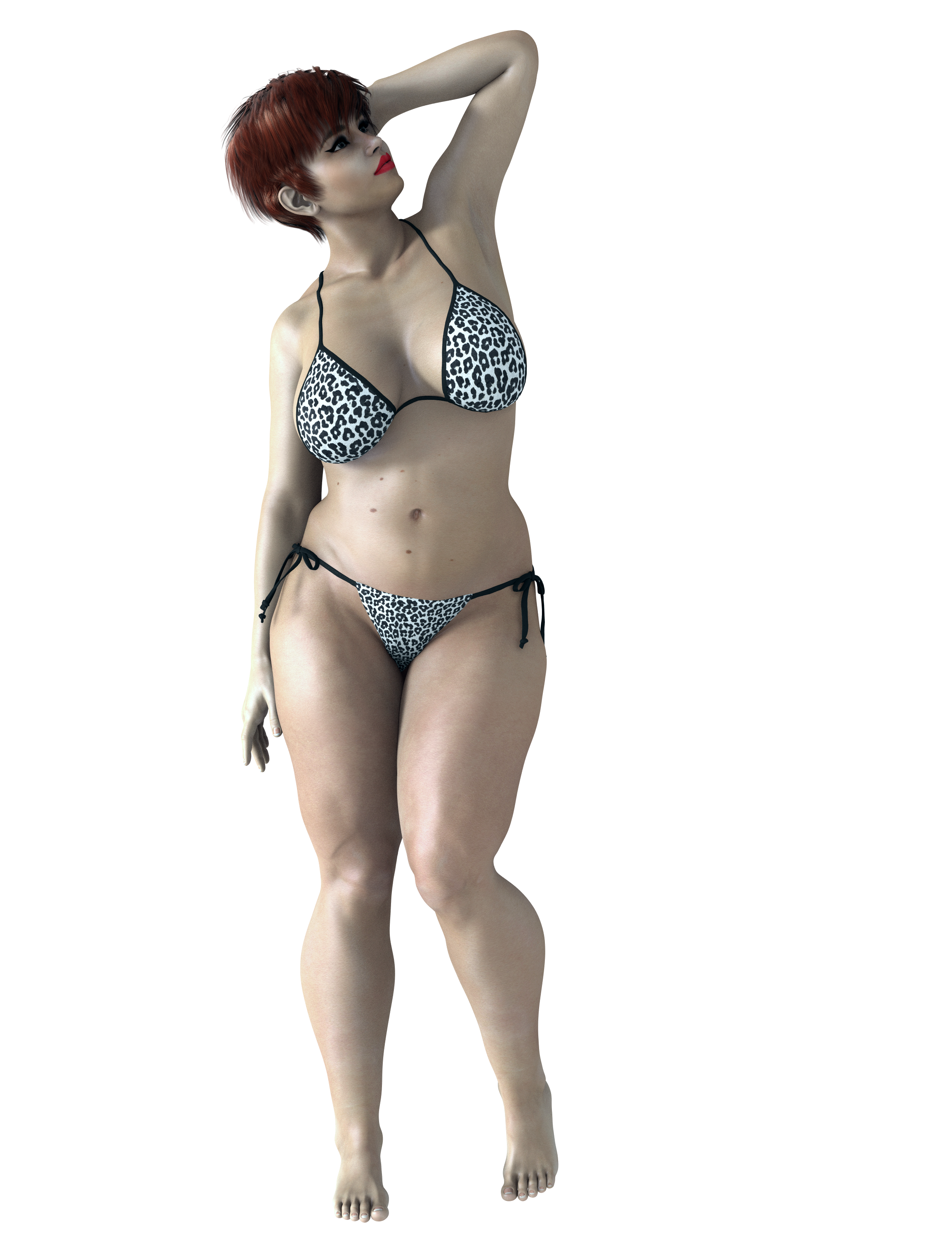 Rendered Fat Woman in Bikini PNG Image