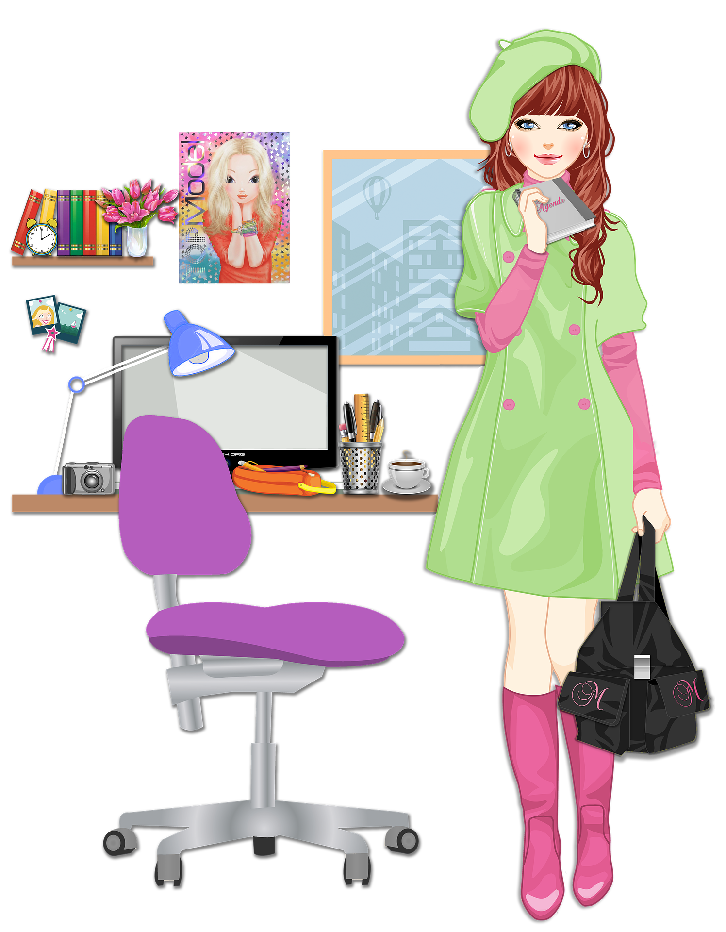 Blonde Girl going college in room with black bag PNG Image