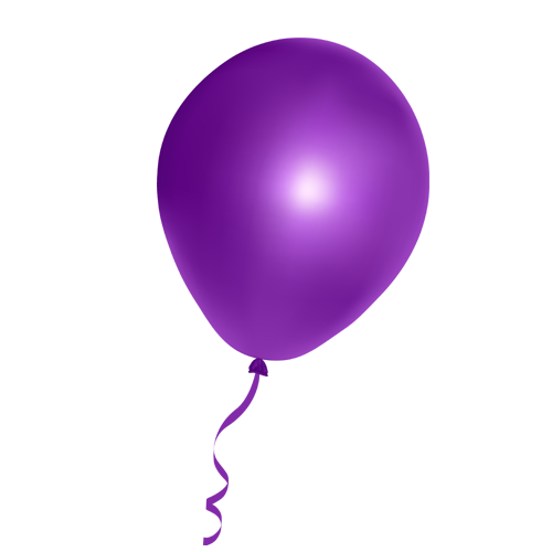Violet Balloon with Ribbon PNG Image