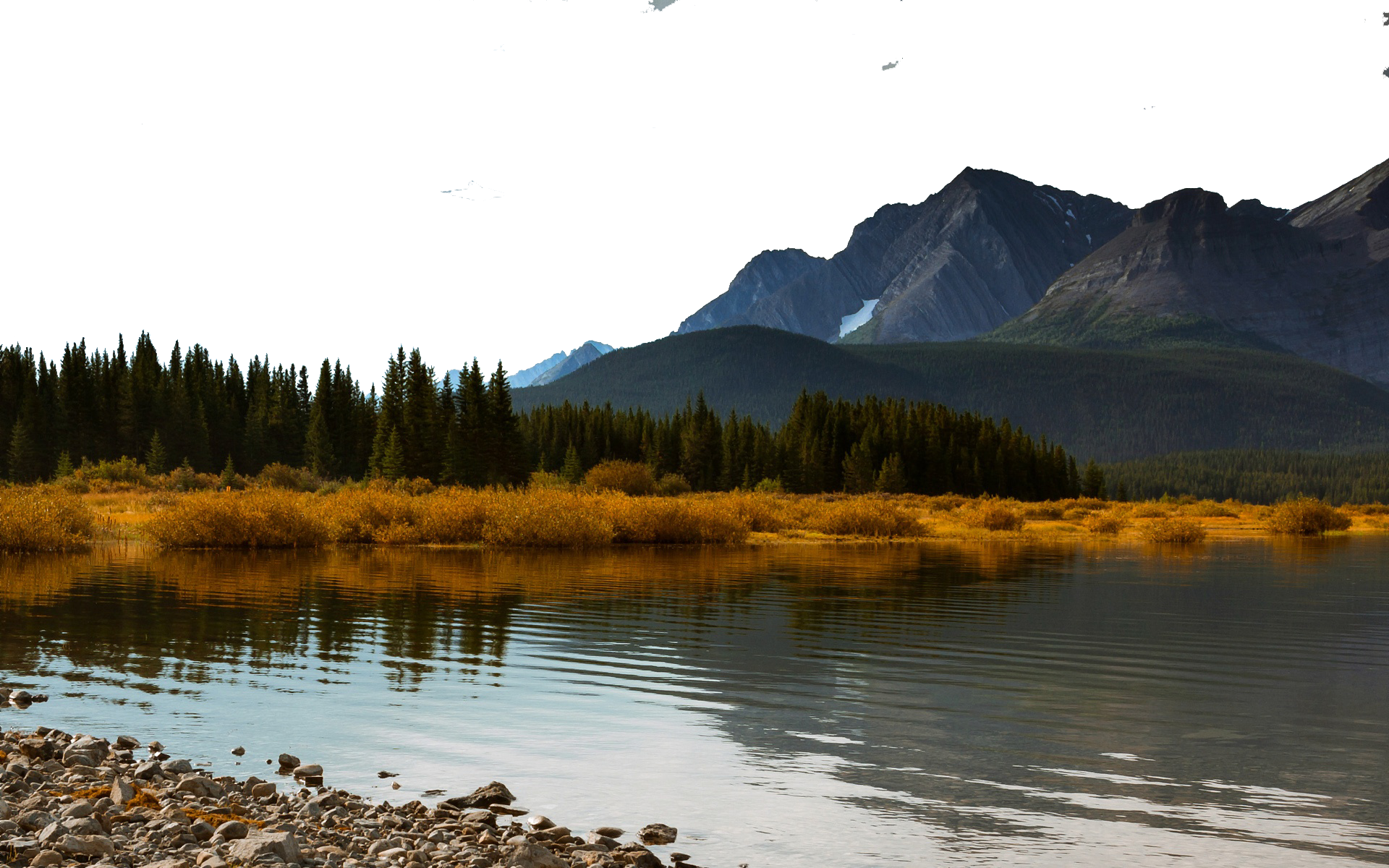 Waterbody by Vegetation and Mountains PNG Image