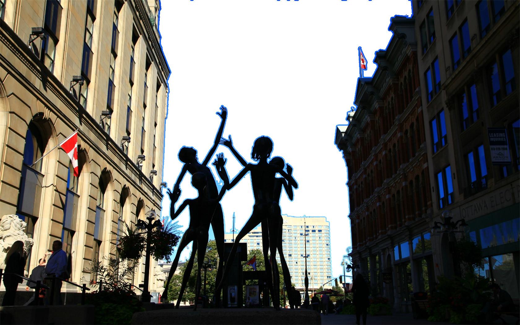 Sculpture in-between Buildings in Canada