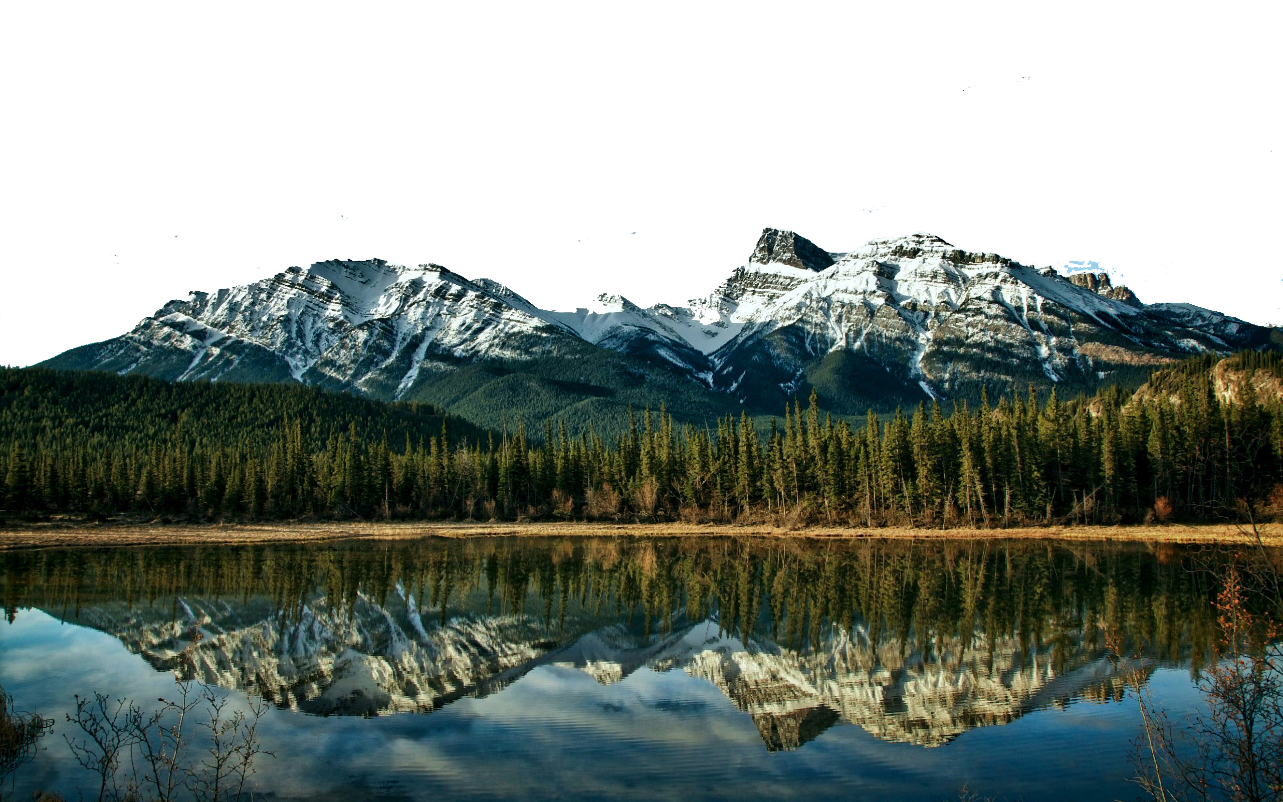 Icy Mountains, Green Vegetation and a Lake PNG Image