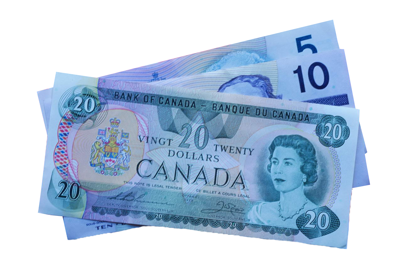 5, 10, and 20 Canadian Dollar Notes PNG Image