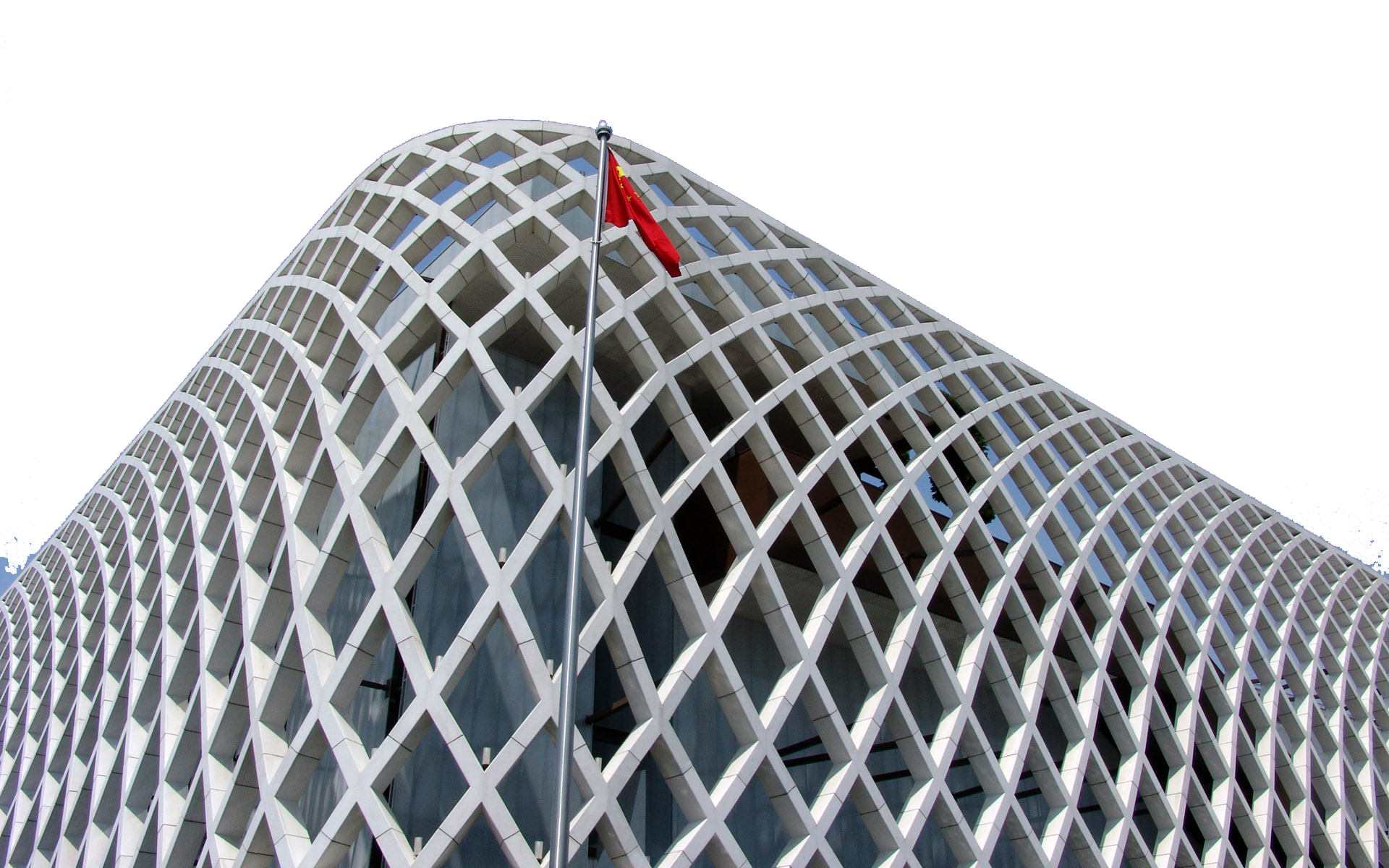Building with Hoisted Flag of China PNG Image