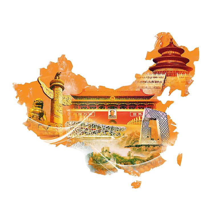 Map and Sights of China PNG Image