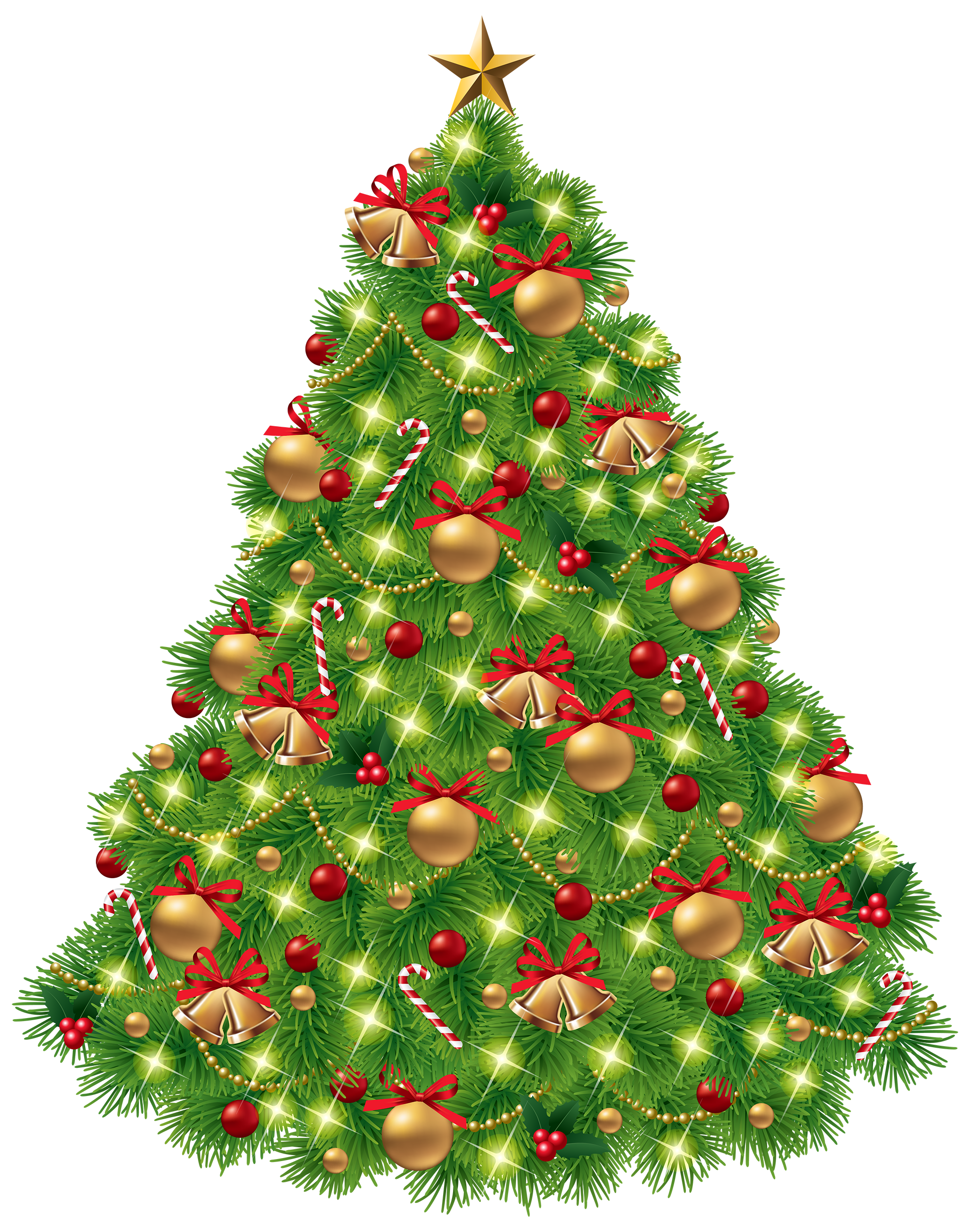 Christmas Tree Clipart with Decoration PNG Image