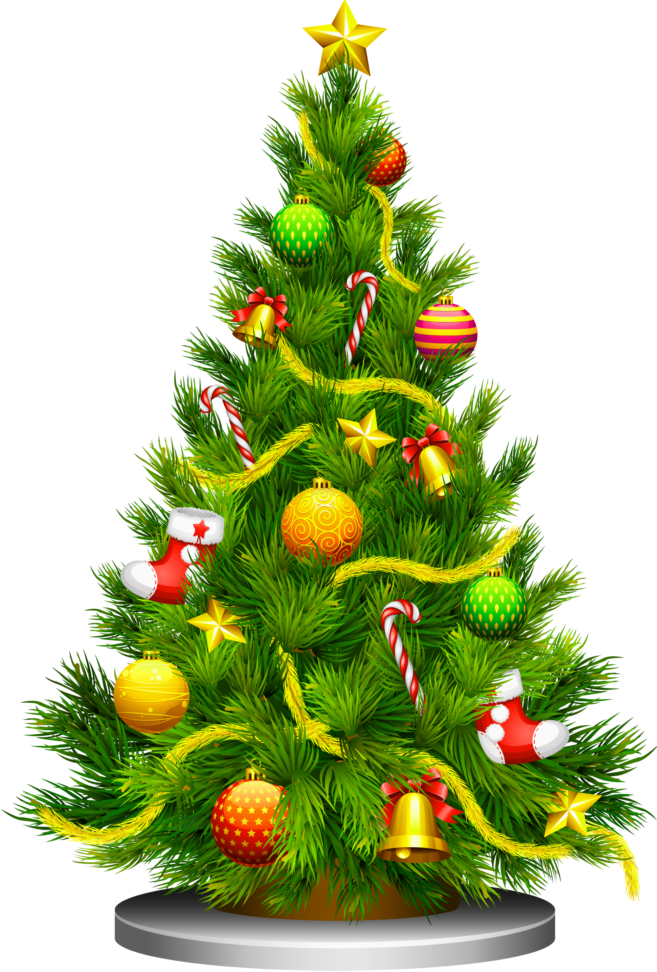 Christmas Tree Clipart with Decoration