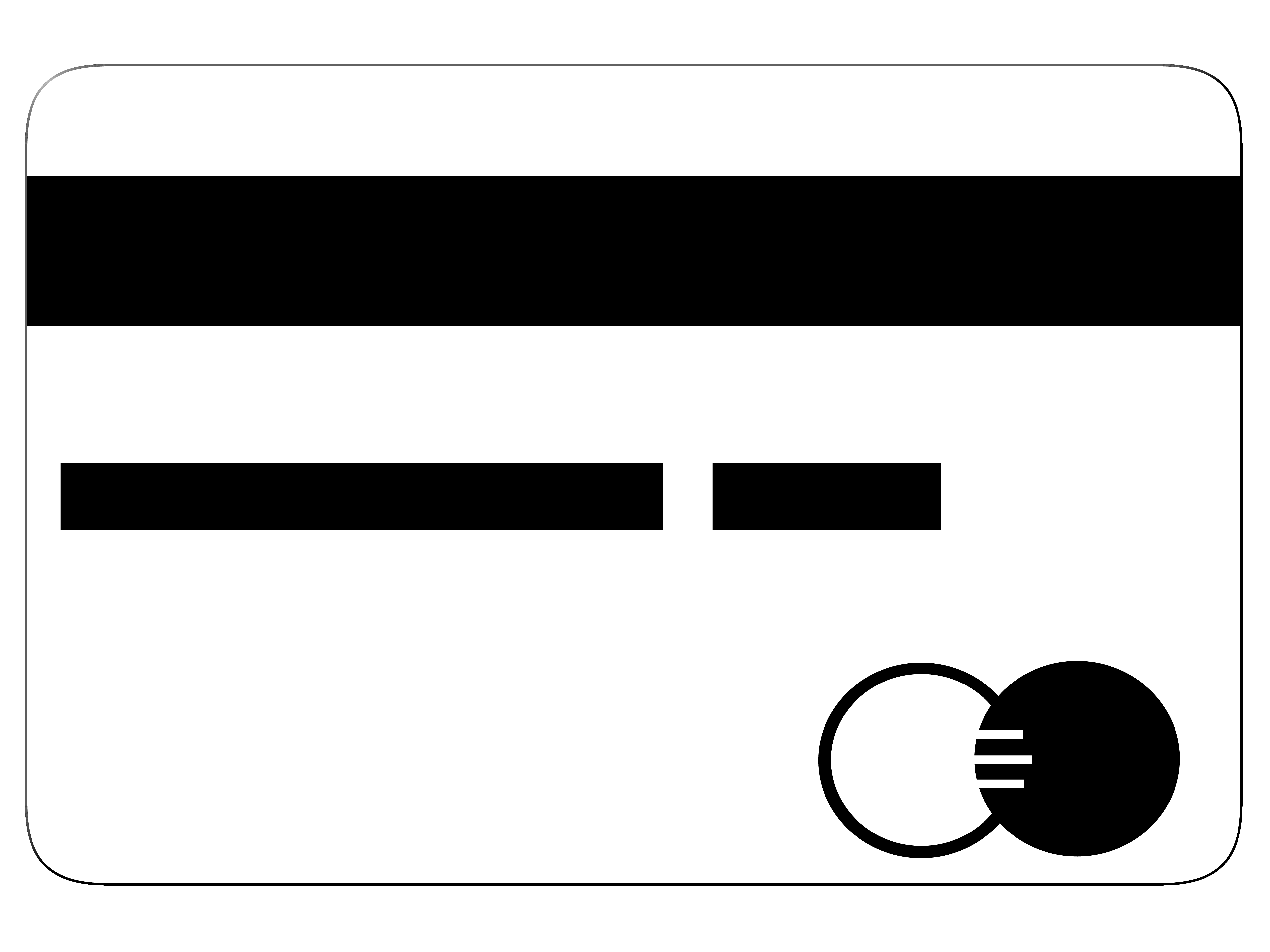 Credit Card in Black and White Color PNG Image