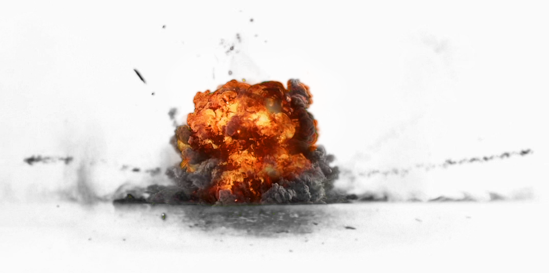 Explosion With Fire and Dark Smoke PNG Image