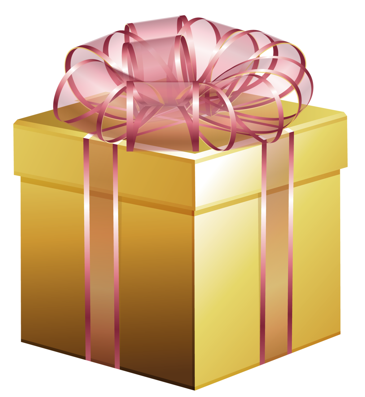 Golden Gift Box PNG Image