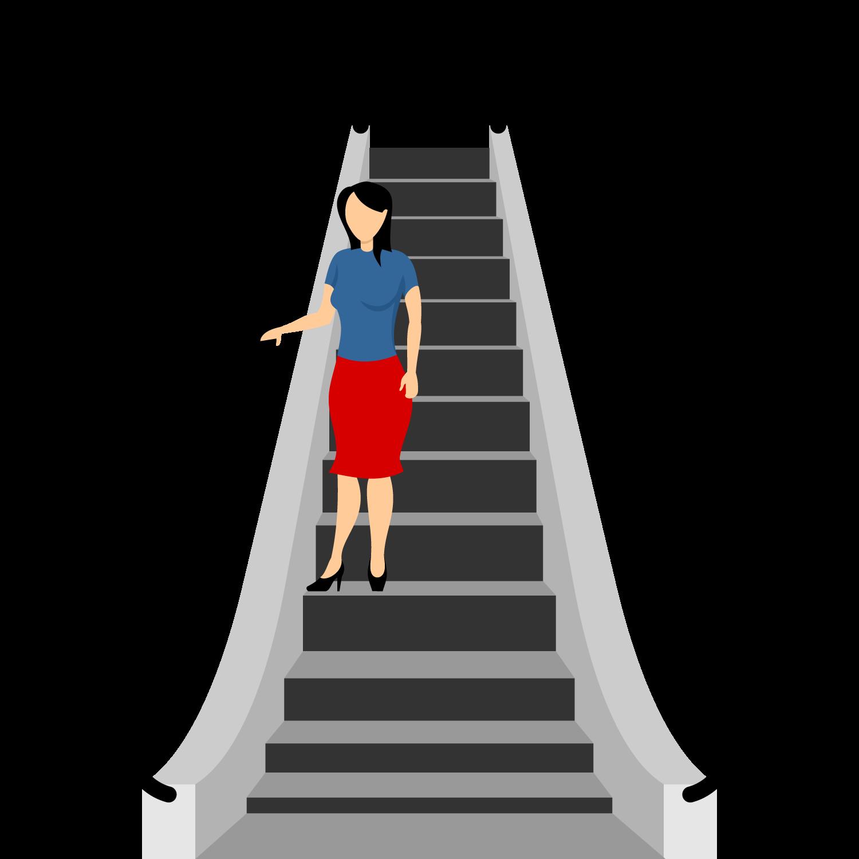 Girl coming down through  Escalator