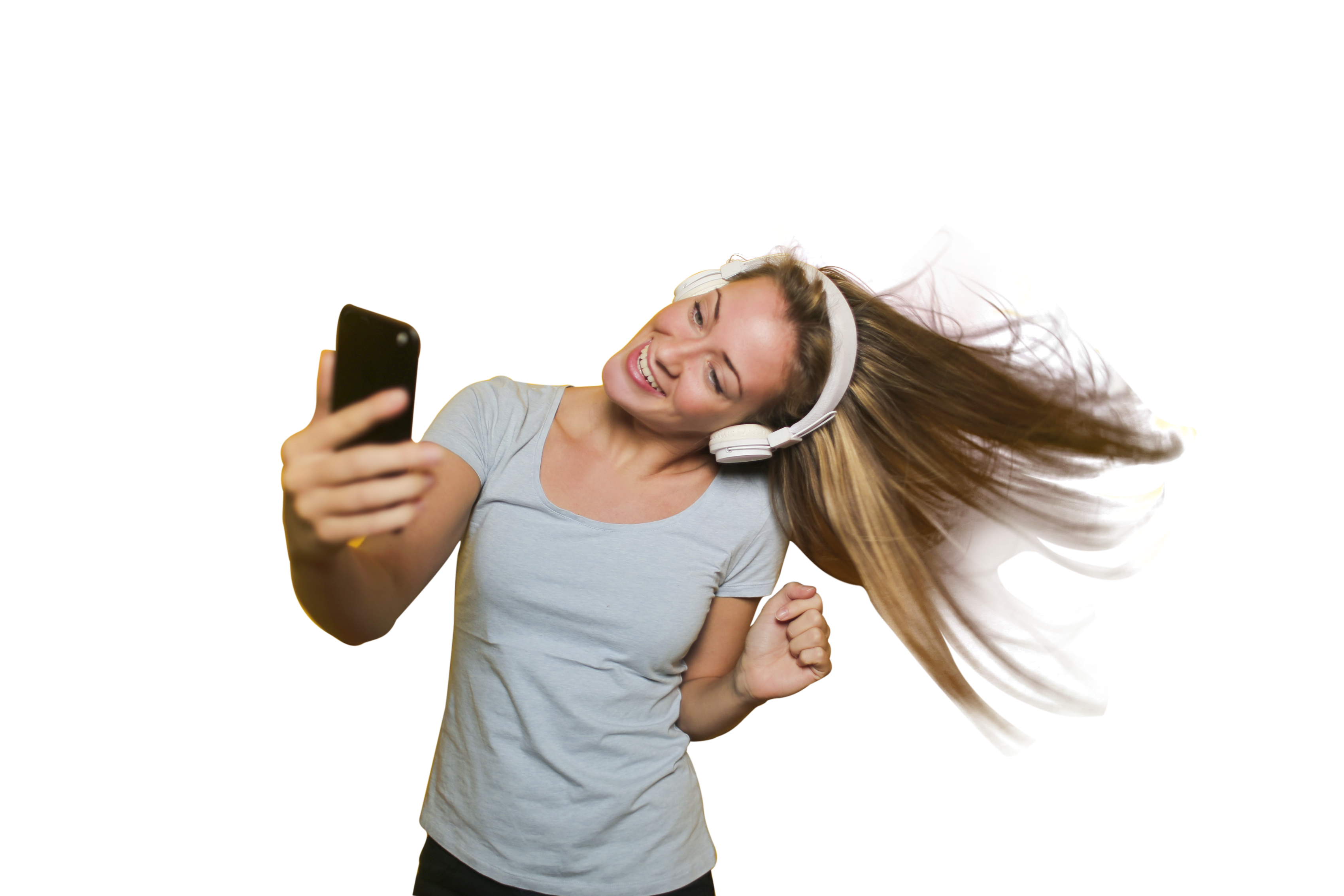 Girl Taking Selfie with listening music PNG Image