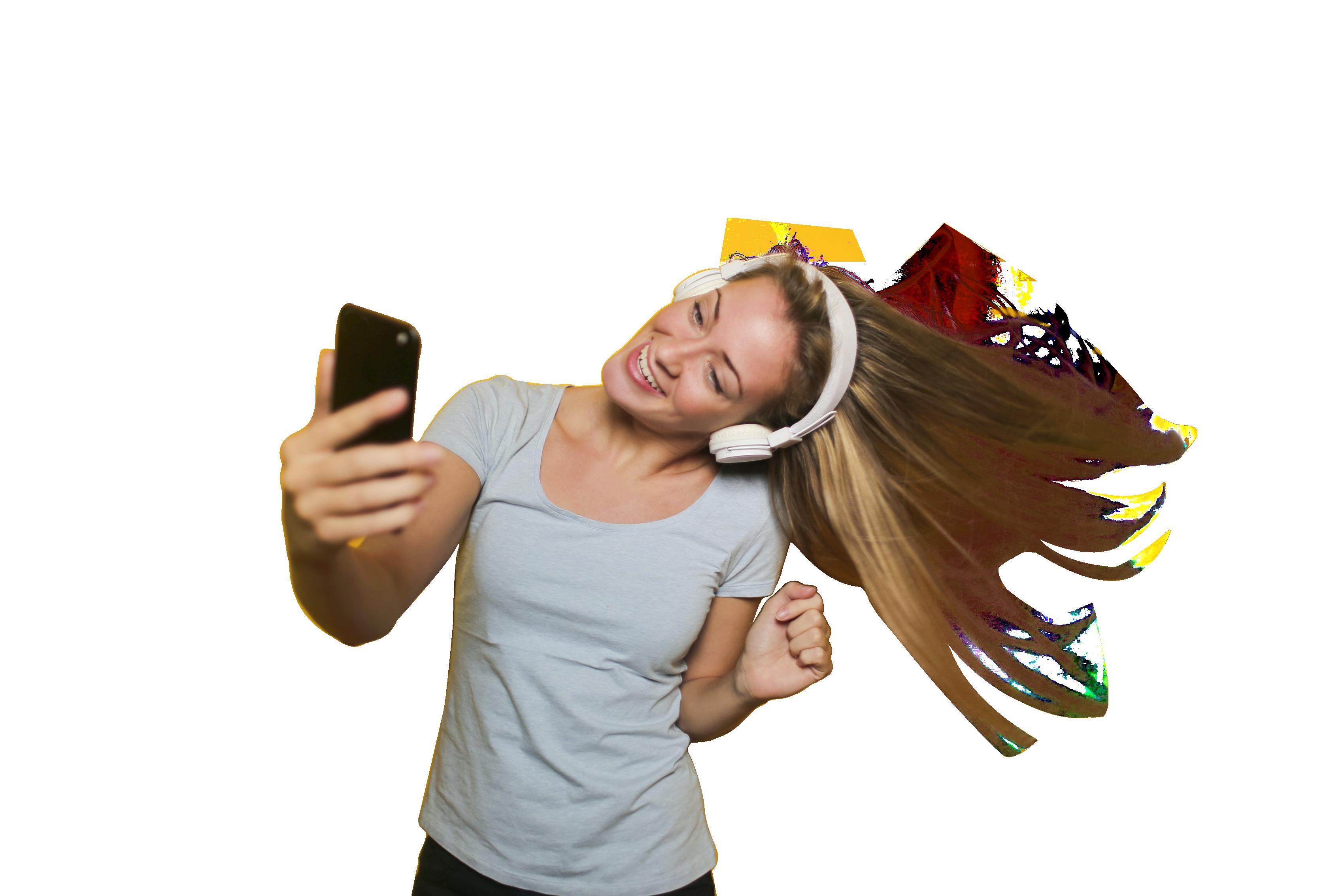 Girl Taking Selfie with listening music