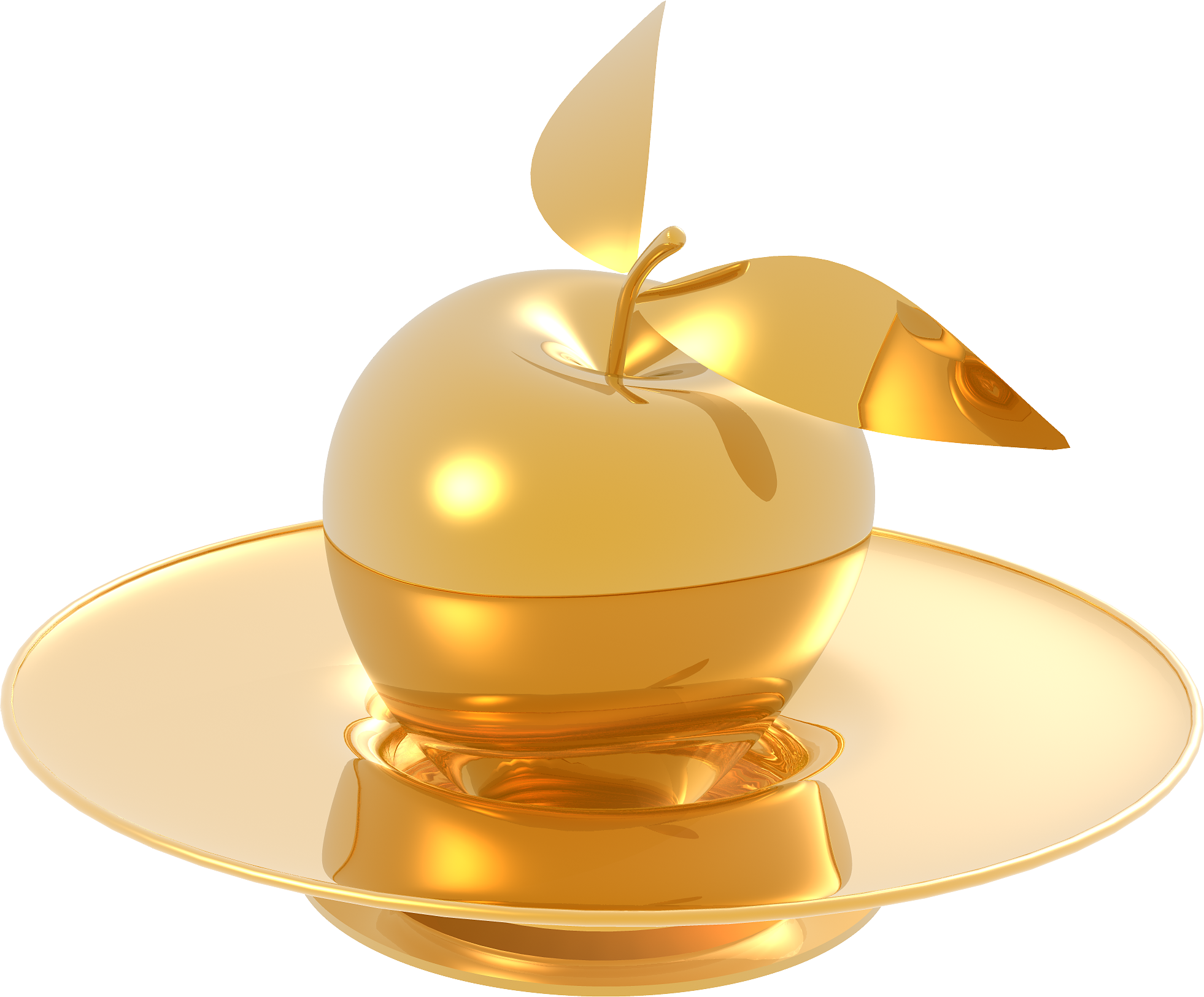 Gold Made Apple and Plate
