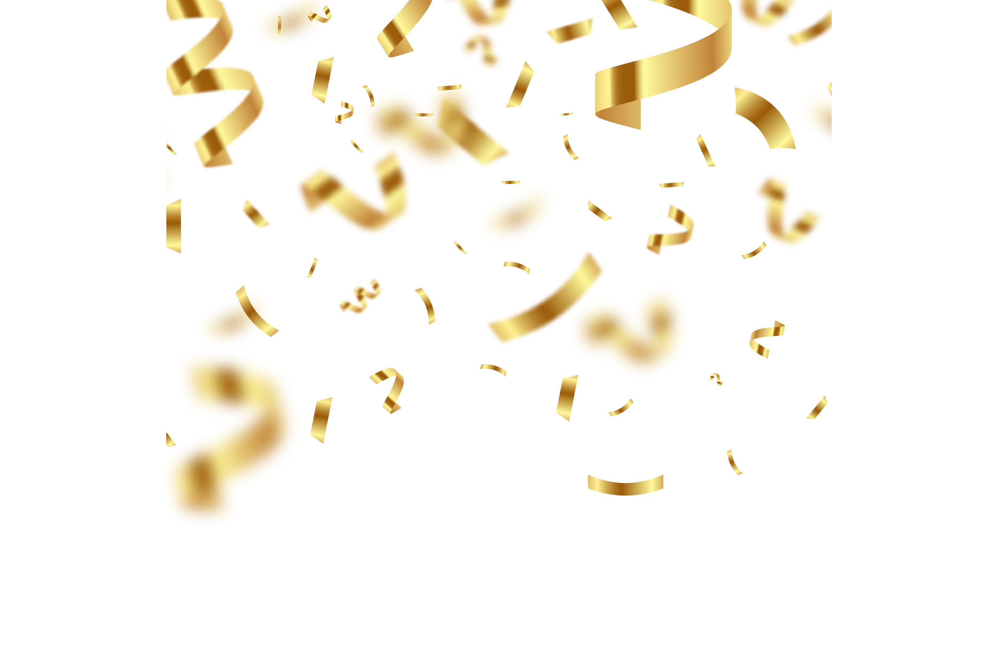 Golden Confetti with Blur PNG Image