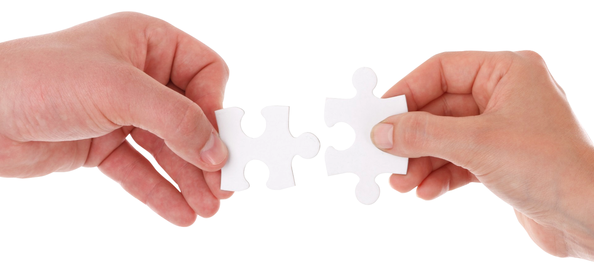 Hand Connect Two Puzzle Pieces PNG Image