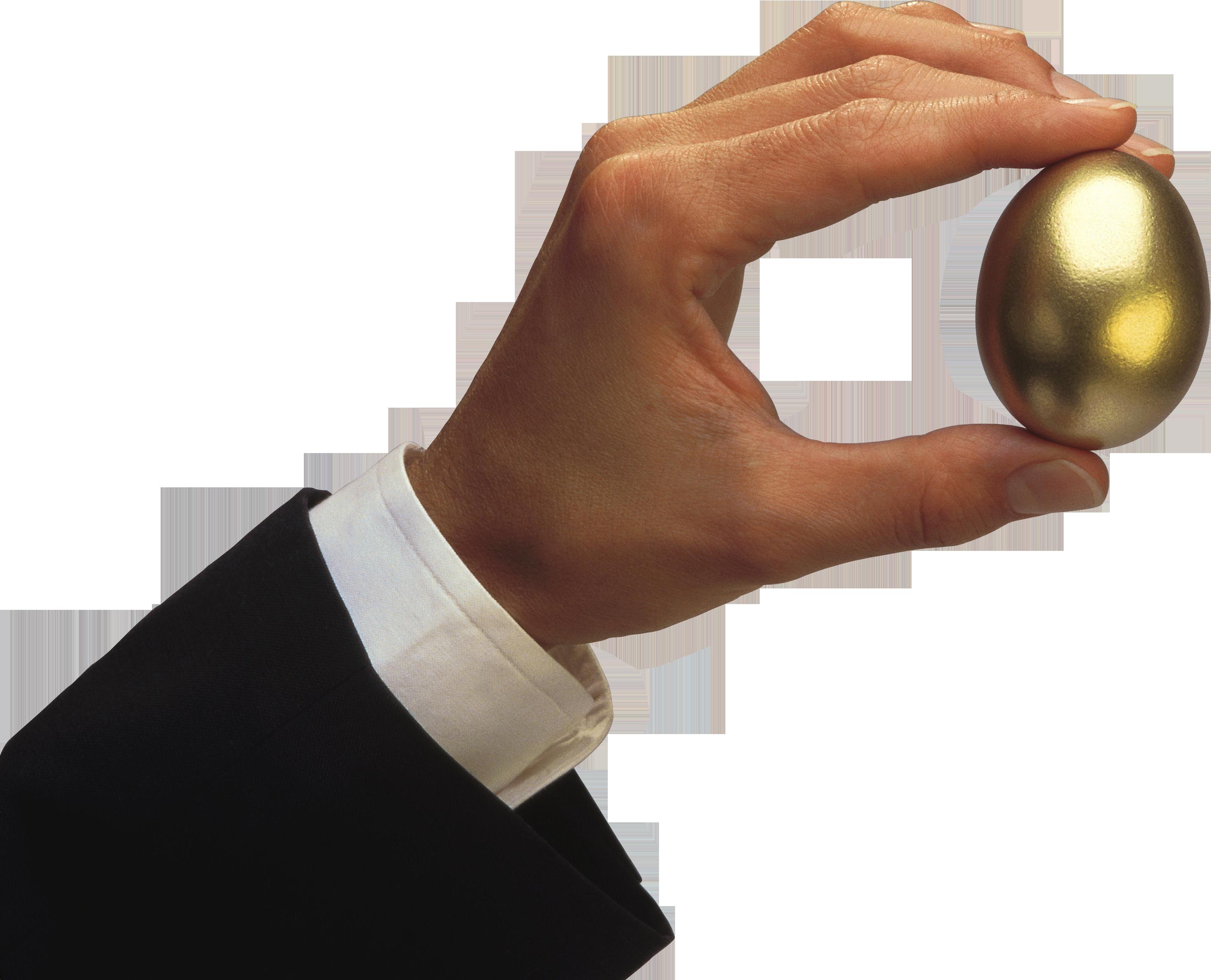 Hand Holding Golden Egg