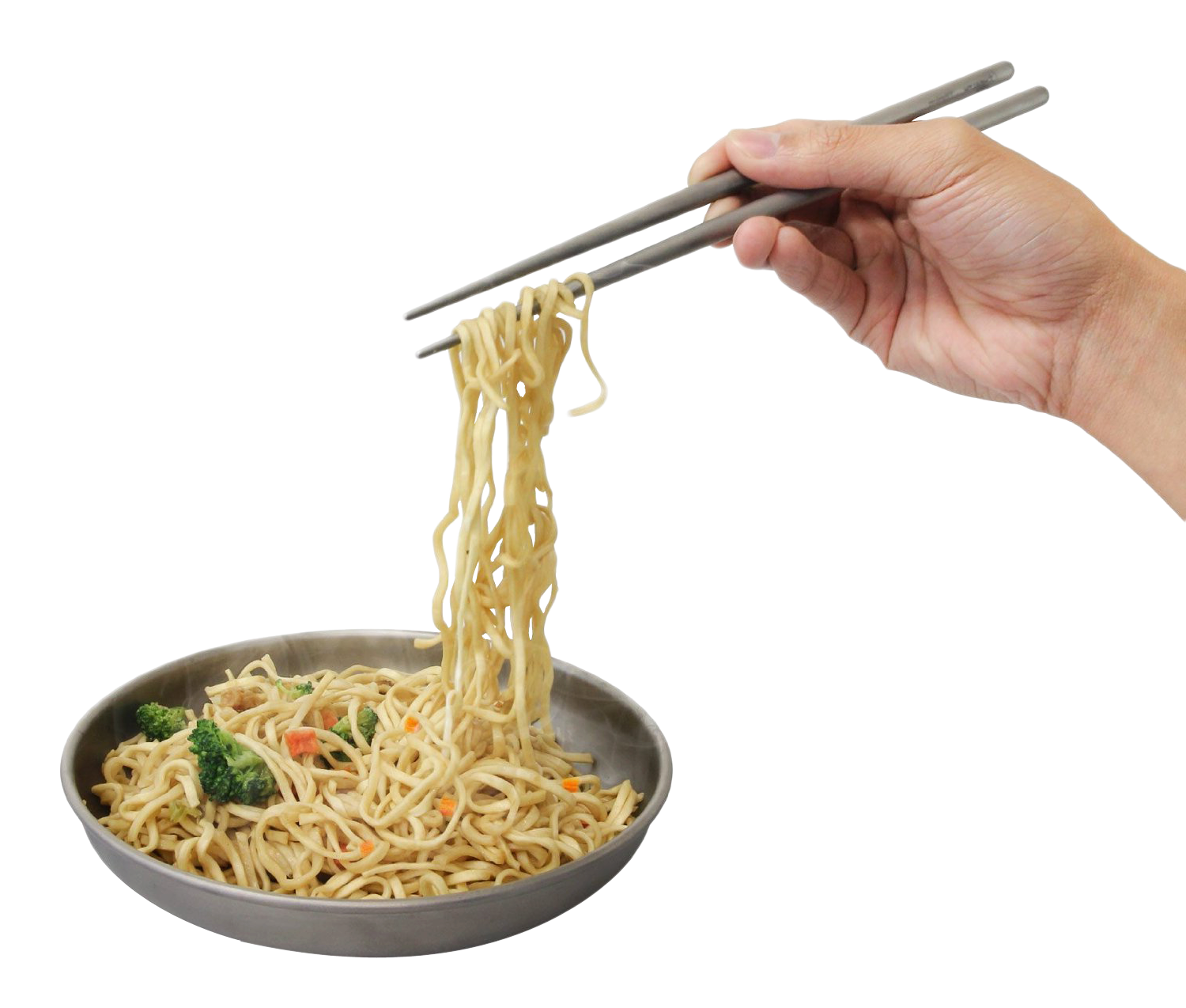 Hand holding Noodles with Chopsticks PNG Image
