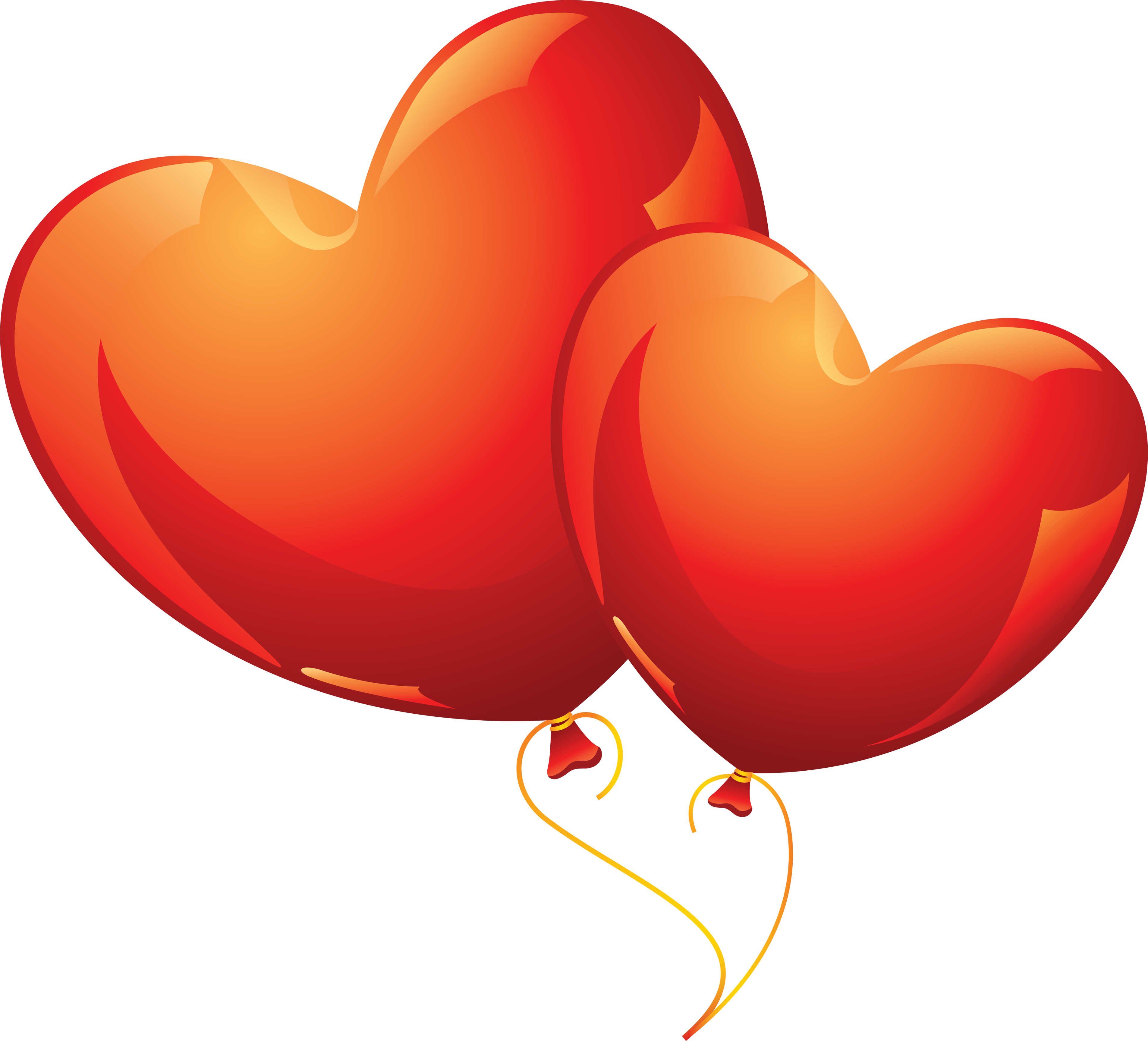 Two Red Heart Balloons PNG Image