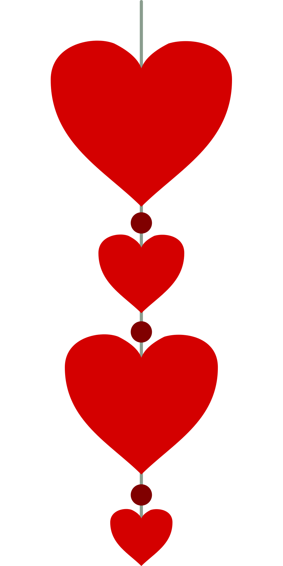 Hearts in a Vertical Line