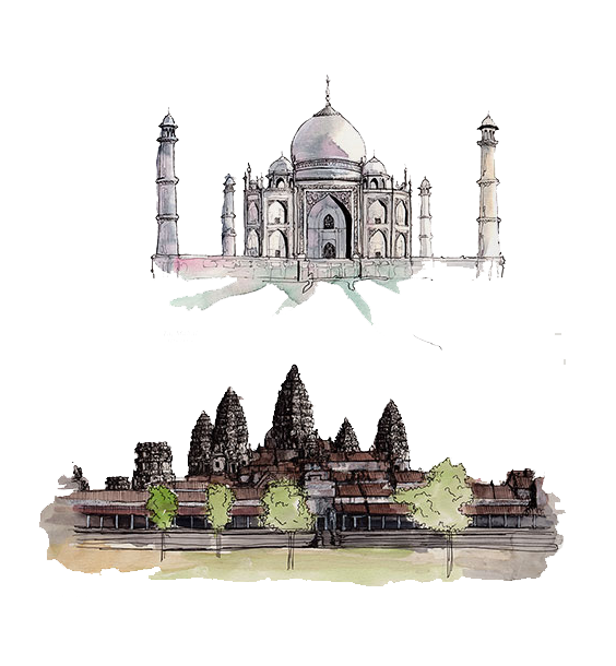 Drawing of Sights of India  PNG Image