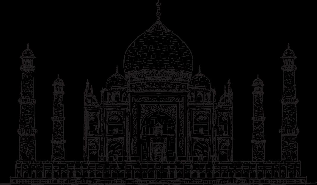 Black and White Drawing of Taj Mahal PNG Image