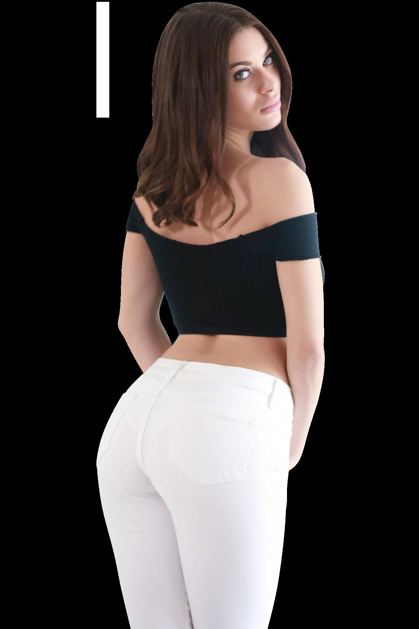 Lana Rhoades wearing White Jeans