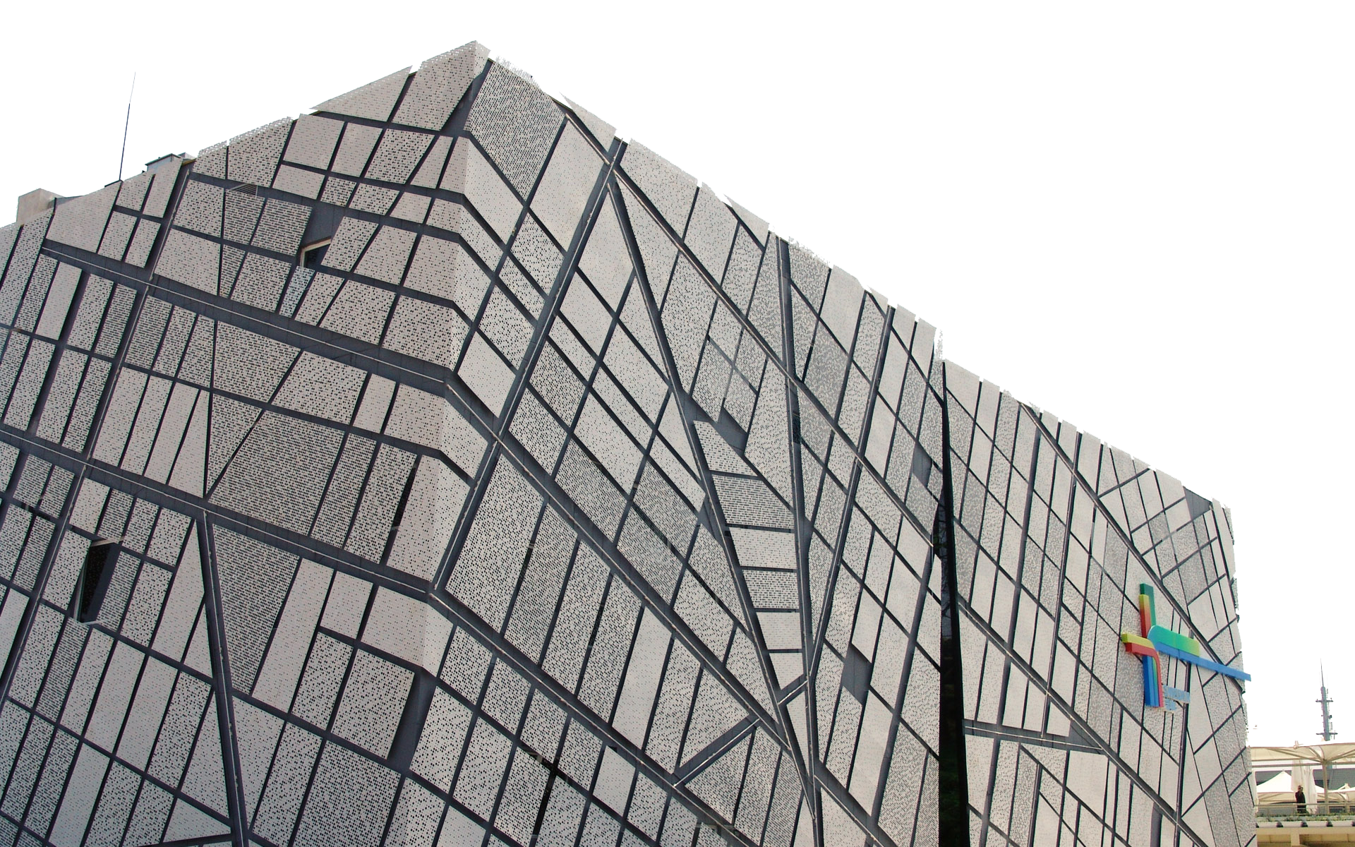 Building with Geometric Shaped Wall Design PNG Image