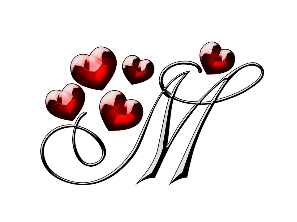 M Letter With Hearts PNG Image