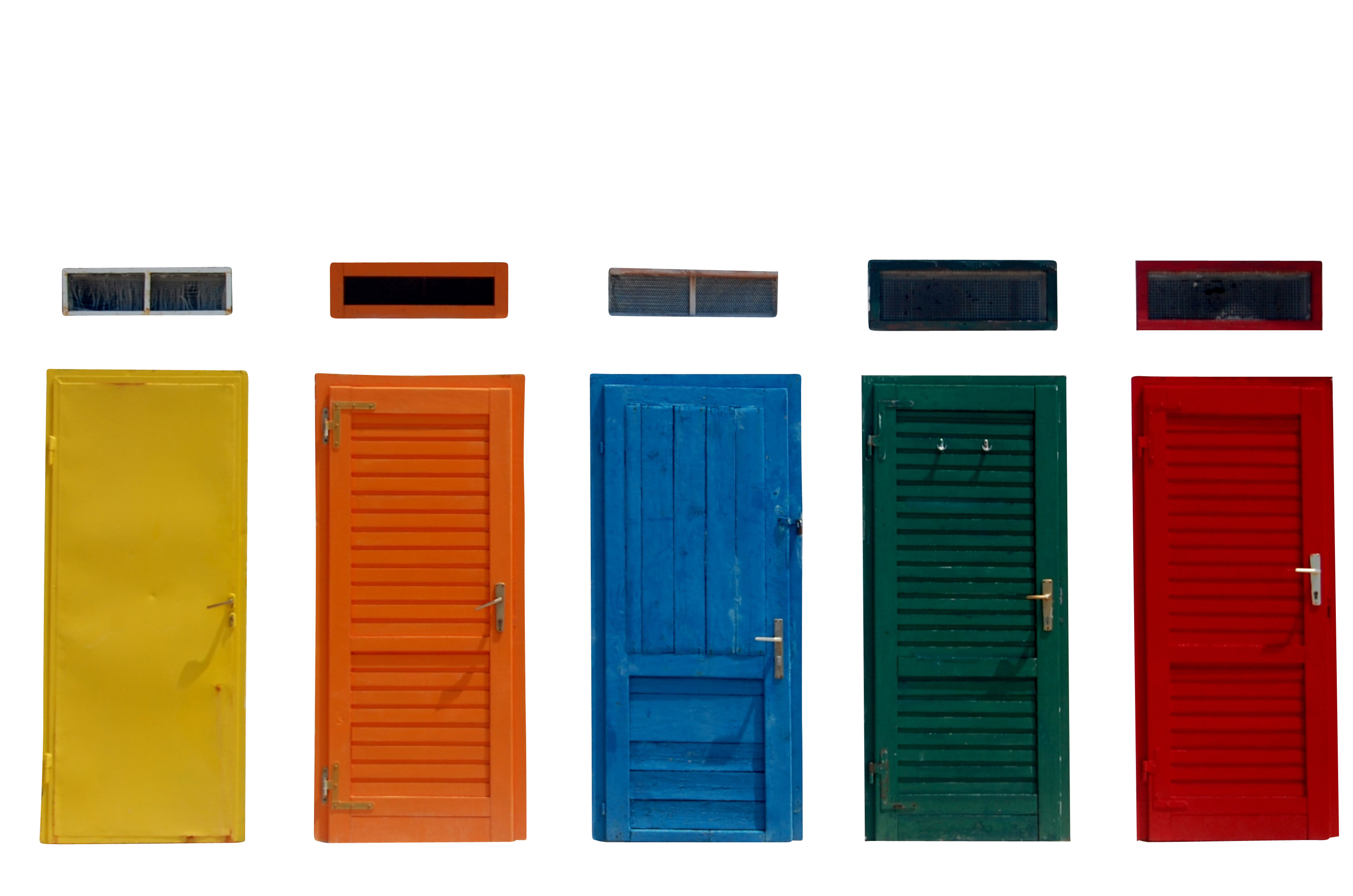 Multicolored Closed Door PNG Image
