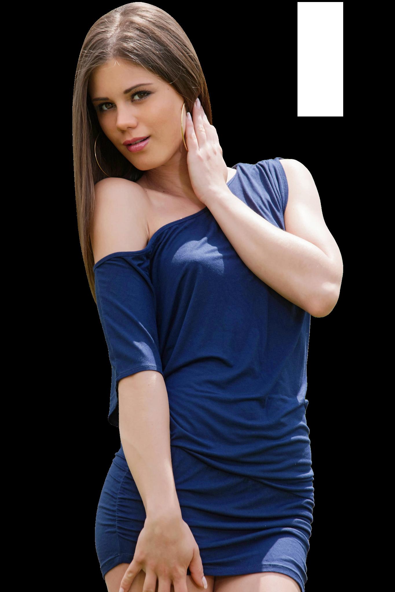 Posing Little Caprice in Blue Dress