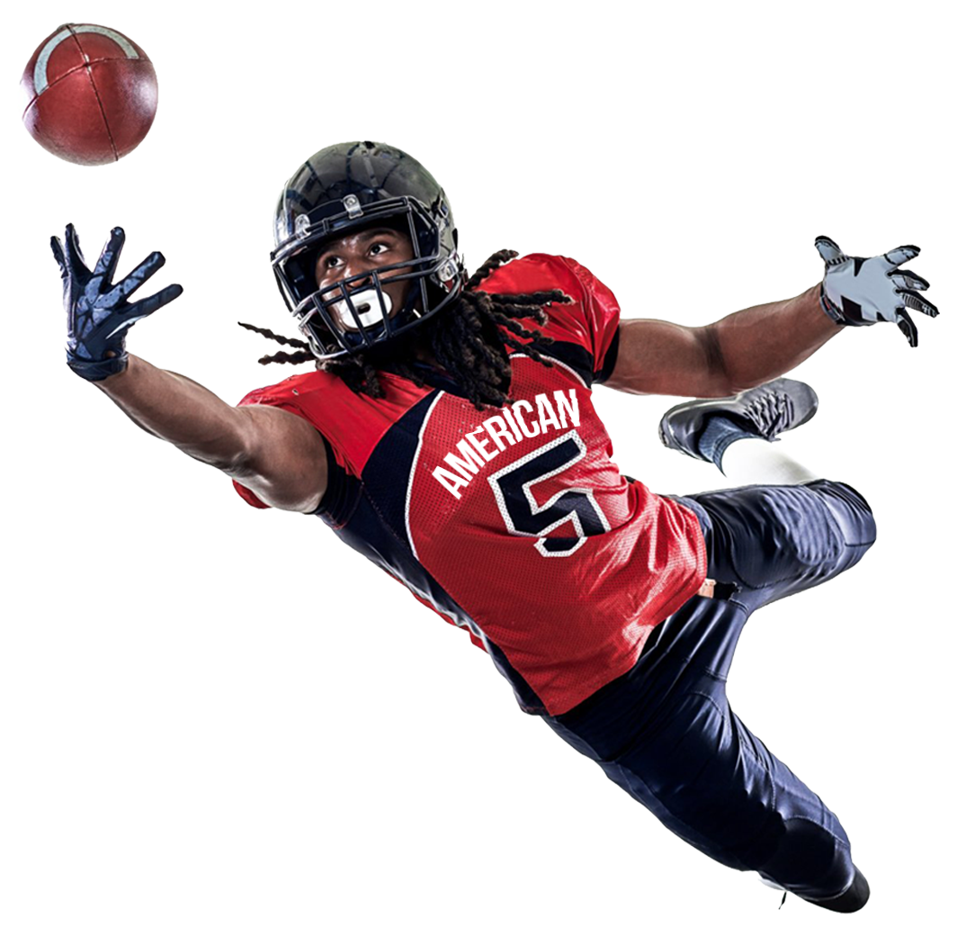 American Football Player Catching A Ball PNG Image